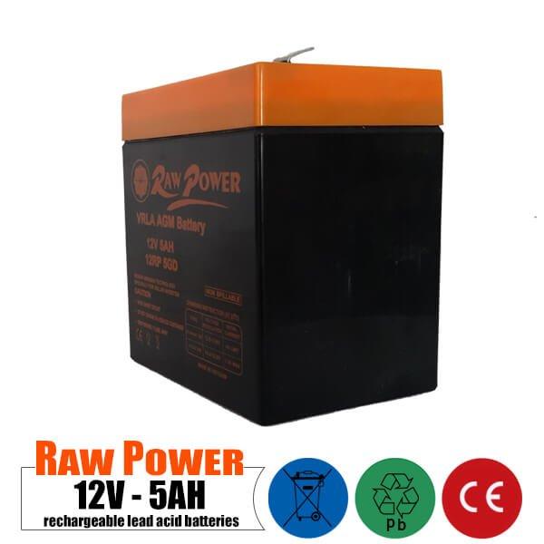 باتری قابل شارژ 12 ولت 5 آمپر Rawpower مدل 12RP5GD