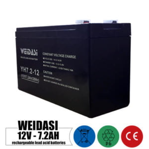 باتری شارژی 12 ولت 7.2 آمپر WEIDASI مدل YH7.2-12