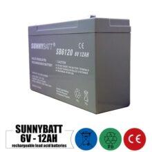 باتری شارژی 6 ولت 12 آمپر SUNNYBATT مدل SB6120,F1