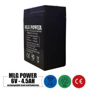 باتری شارژی 6 ولت 4.5 آمپر MLG POWER مدل TP645