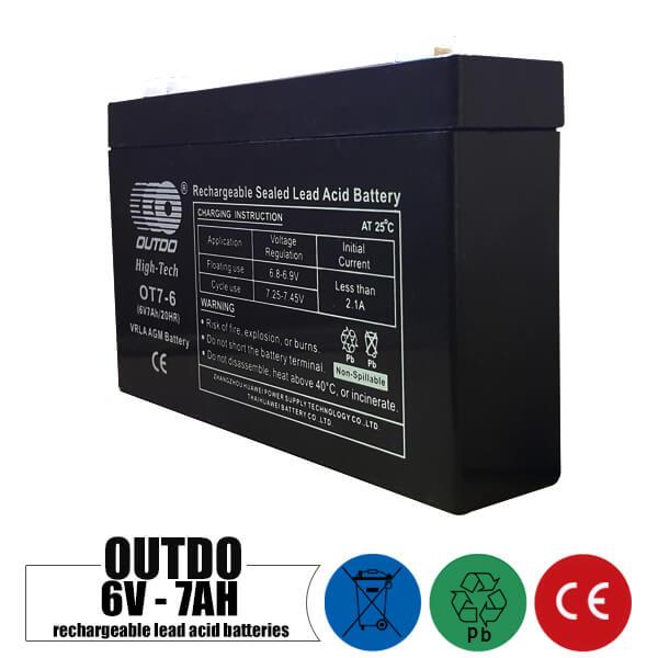 باتری شارژی 6 ولت 7 آمپر OUTDO مدل OT7-6
