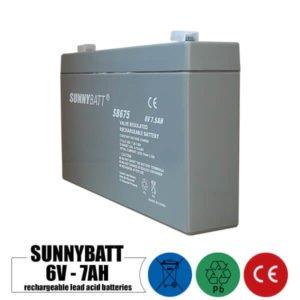 باتری شارژی 6 ولت 7 آمپر SUNNYBATT مدل SB675