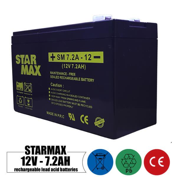 باتری شارژی 12 ولت 7.2 آمپر STARMAX مدل SM7.2A-12