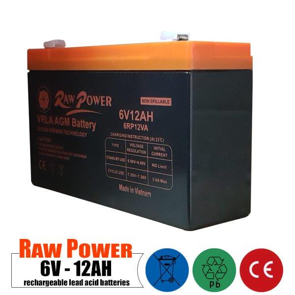باتری شارژی 6 ولت 12 آمپر RAWPOWER مدل 6RP12VA