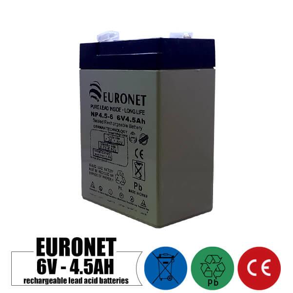 باتری شارژی 6 ولت 4.5 آمپر EURONET مدل NP4.5-6