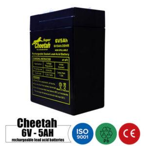 باتری شارژی 6 ولت 5 آمپر CHEETAH مدل 6V5Ah