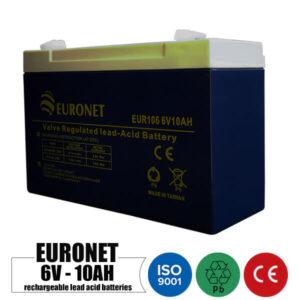 باتری شارژی 6 ولت 10 آمپر EURONET مدل EUR106