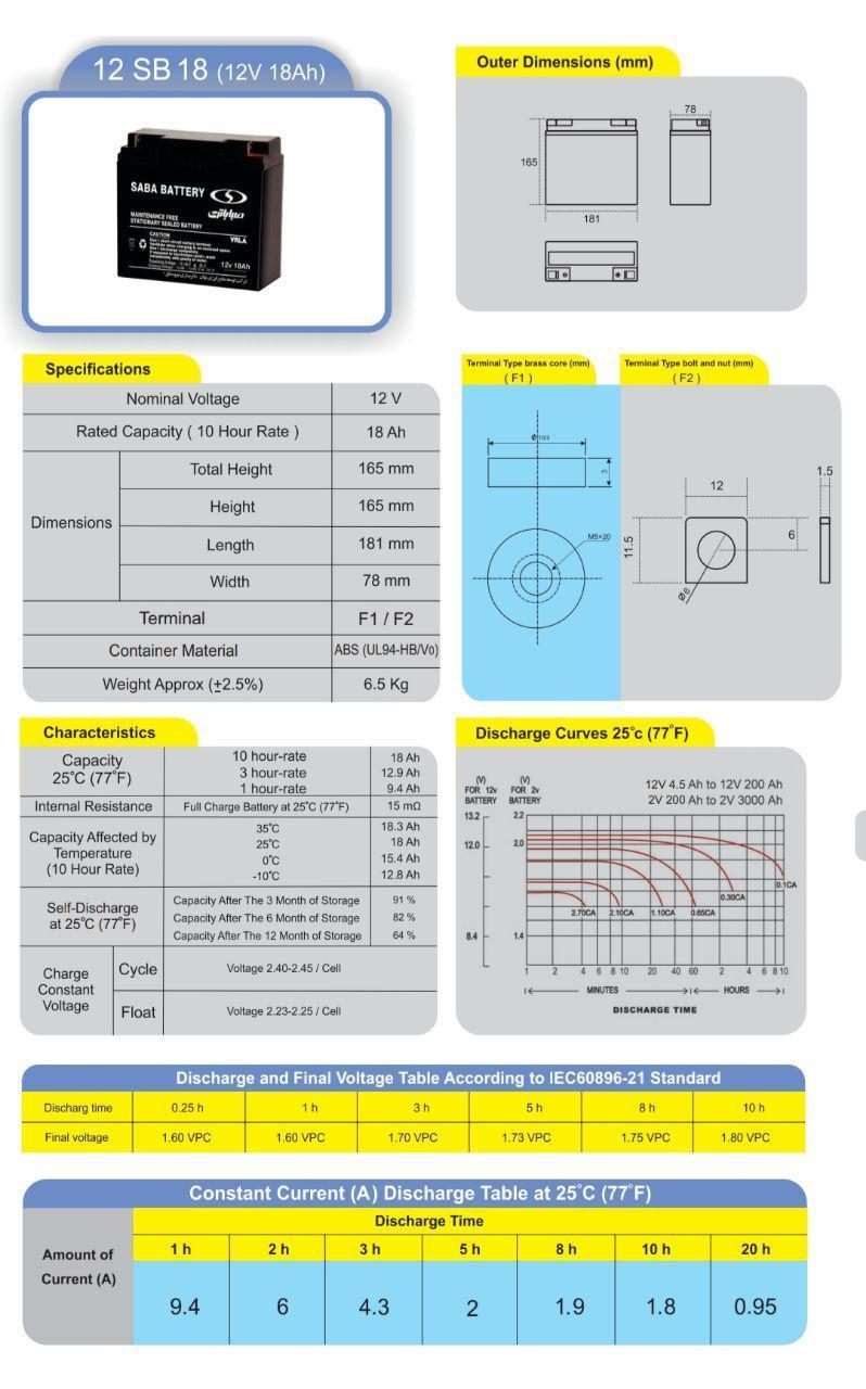 مشخصات فنی باتری یو پی اس 12 ولت 18 آمپر ساعت صبا باتری