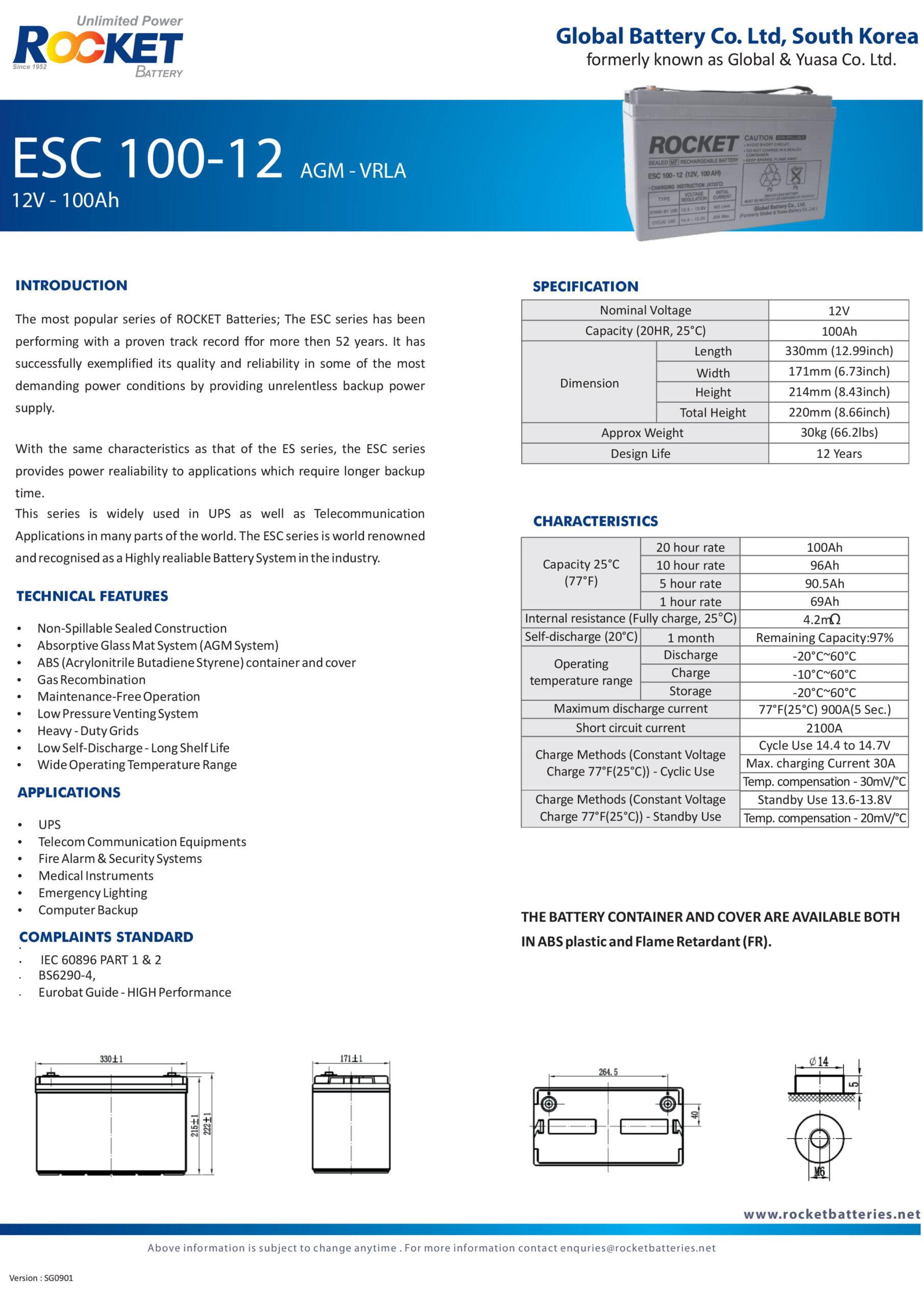 مشخصات فنی باتری یو پی اس 12 ولت 100 آمپر راکت Rocket