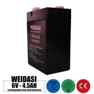 باتری شارژی 6 ولت 4.5 آمپر WEIDASI مدل YH4.5-6