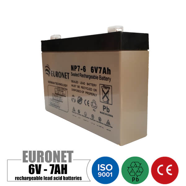 باتری شارژی 6 ولت 7 آمپر EURONET | اویان تک