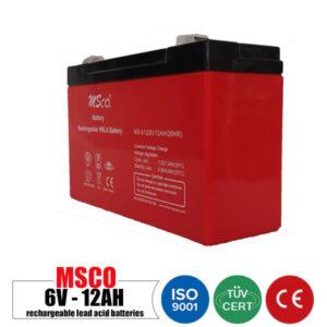 باتری شارژی 6 ولت 12 آمپر MSCO مدل MS-612