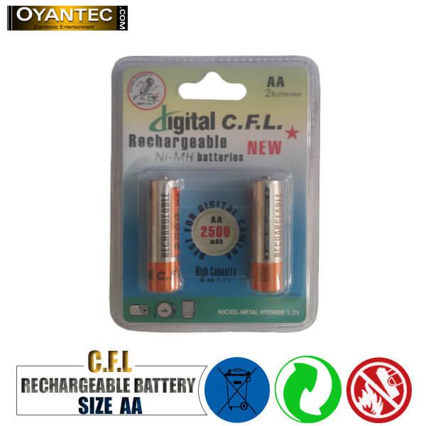 باتری قلمی قابل شارژ CFL مدل 2500mAH AA