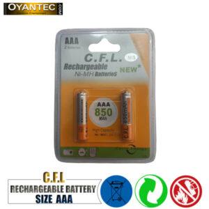 باتری نیم قلمیقابل شارژ CFL مدل 850mah AAA بسته 12 کارتی