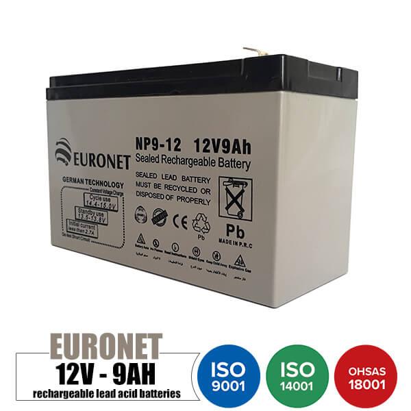 باتری قابل شارژ 12 ولت 9 آمپر EURONET مدل NP9-12