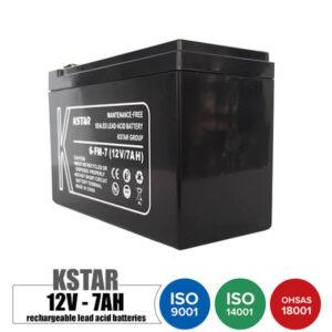 باتری شارژی 12 ولت 7 آمپر KSTAR مدل 6FM7