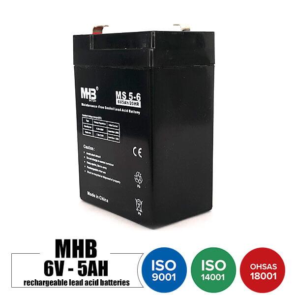 باتری قابل شارژ 6 ولت 5 آمپر MHB