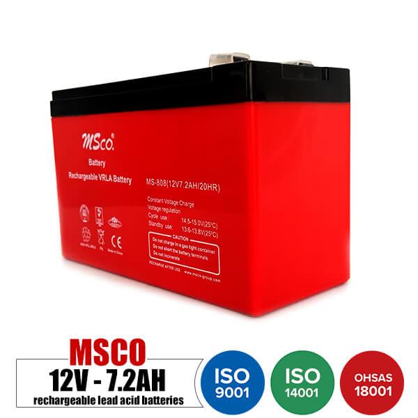باتری قابل شارژ 12 ولت 7.2 آمپر MSCO مدل MS-808