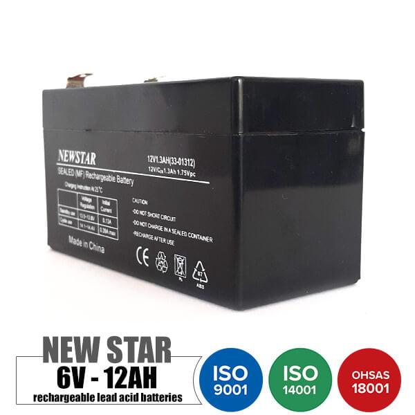 باتری قابل شارژ 12 ولت 1.3 آمپر NEWSTAR مدل 33-01312
