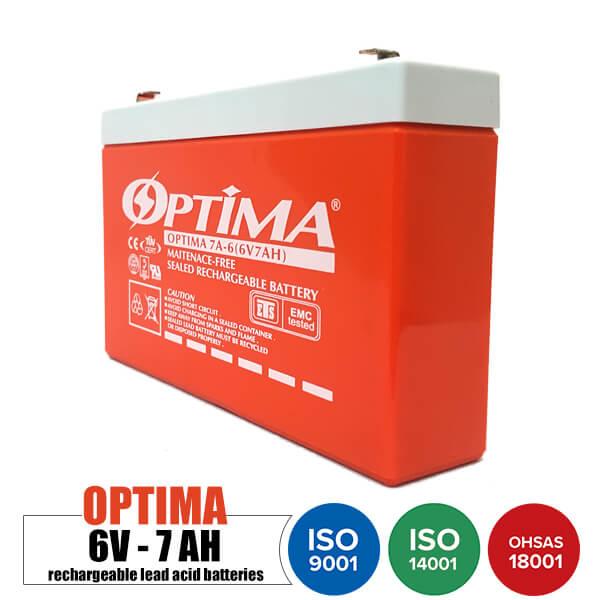 باتری شارژی 6 ولت 7 آمپر OPTIMA مدل 7A-6