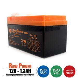باتری شارژی 12 ولت 1.3 آمپر Rawpower مدل 12RP1.3FA