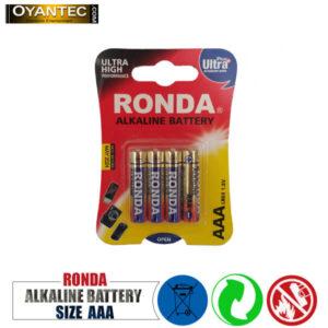 باتری نیم قلمیروندا الکالاین 4 عددی RONDA AAA