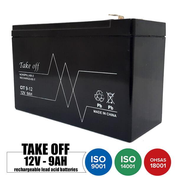 باتری شارژی 12 ولت 9 آمپر TakeOff مدل OT9-12