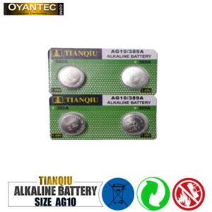 باتری سکه ای تیانکیو AG10-389A الکالاین 100 عددی