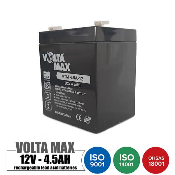 باتری قابل شارژ 12 ولت 4.5 آمپر Voltamax مدل VTM4.5A-12