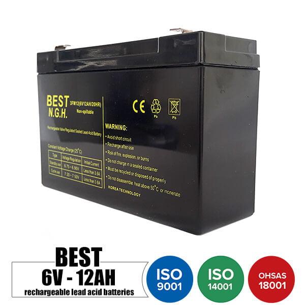 باتری قابل شارژ 6 ولت 12 آمپر BEST مدل 3FM12