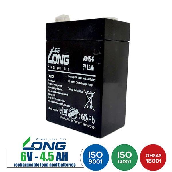 باتری شارژی 6 ولت 4.5 آمپر LongLife مدل AD4.5-6