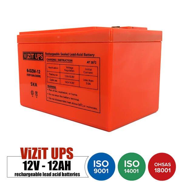 باتری قابل شارژ 12 ولت 12 آمپر VISITUPS مدل 6-DZM-12